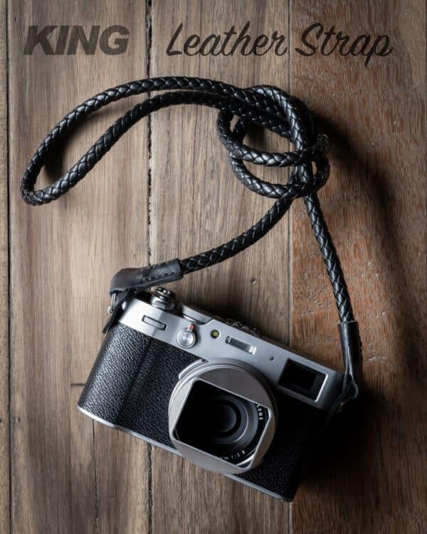 สายกล้องหนังแท้แบบถักเส้นเล็ก King Leather Strap