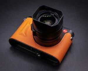 Leather Case Leica Q2 Orange Premium Edition เคสหนังแท้ สีส้ม