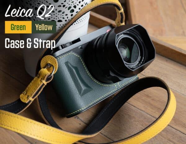 Leather Case Leica Q2 Green Premium Edition พร้อมสาย Rock n Roll Riviera Yellow Strap