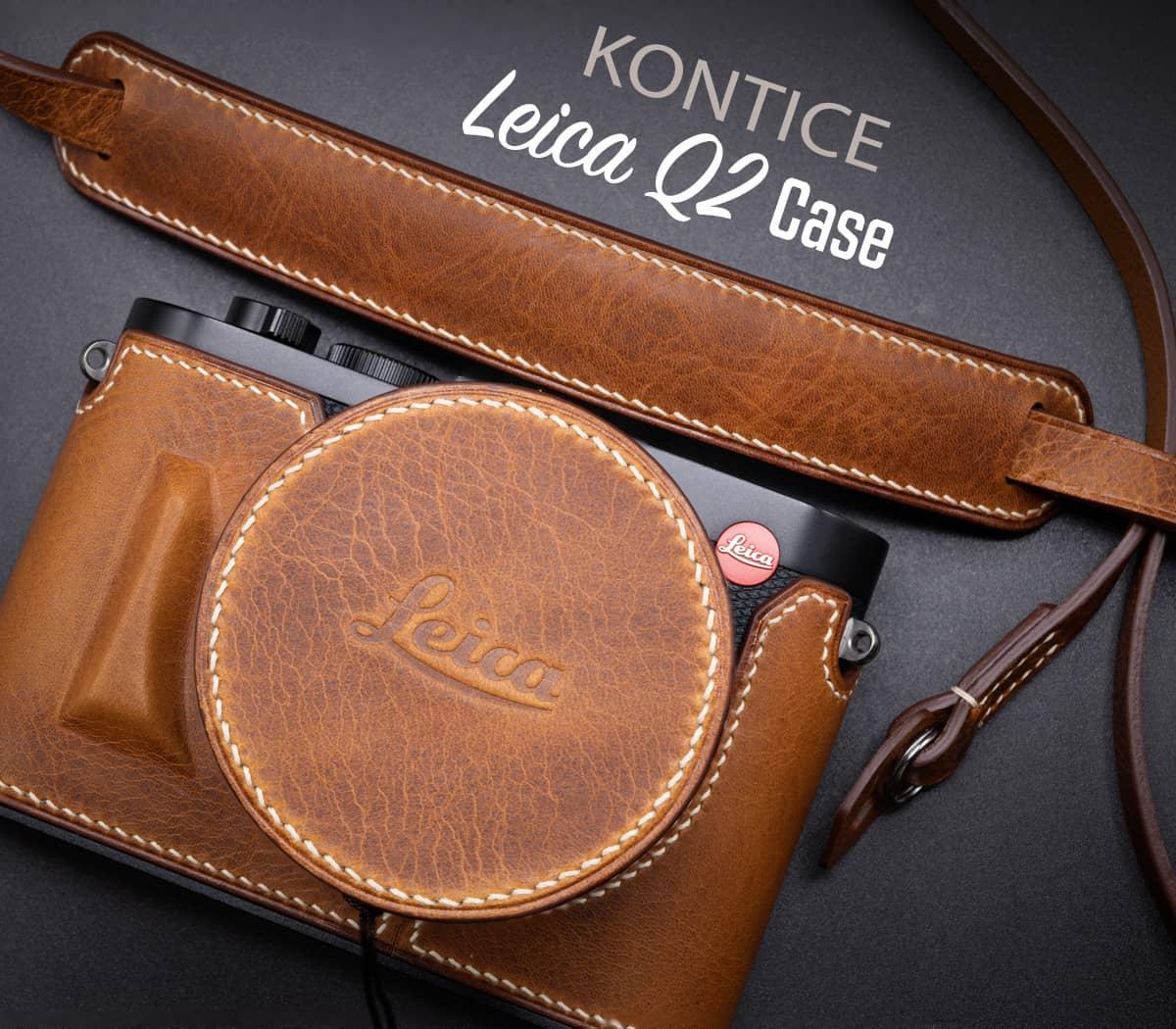 ชุด เคสกล้อง Leica Q2 Kontice Brown พร้อมฝาครอบเลนส์ และ สายคล้องกล้อง สีน้ำตาล