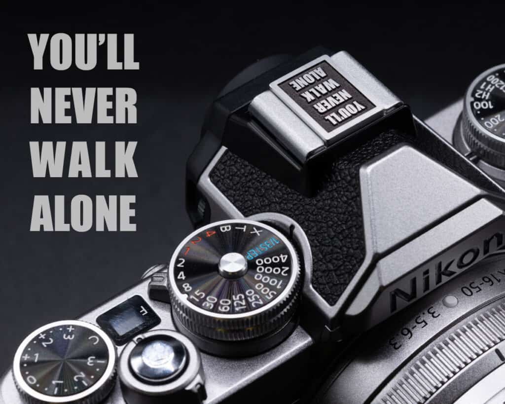 Hot Shoe Cover ตัวปิดช่องแฟลช You'll never walk alone สีดำ
