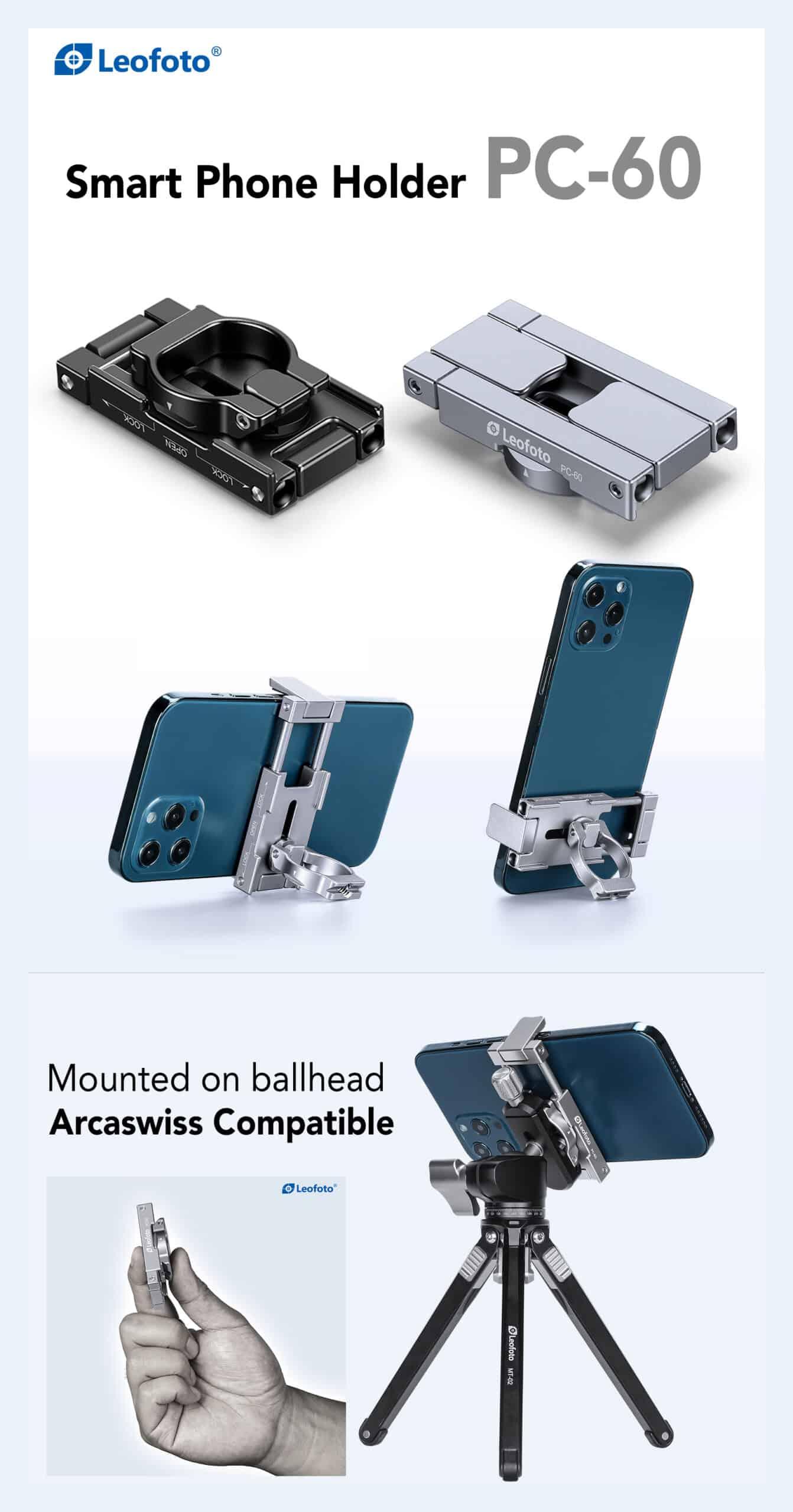ที่จับมือถือ ตั้งบนขาตั้งกล้องได้ แคลมป์ Smallphone Holder LeoFoto PC60 สีดำ
